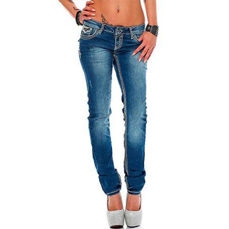 Cipo & Baxx Damen Jeans verschiedene Modelle und Farben, Blau, 28W 30L