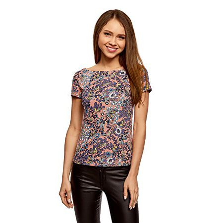 f1e9a317284136 oodji Ultra Damen Enges T-Shirt mit U-Boot-Ausschnitt, Mehrfarbig,