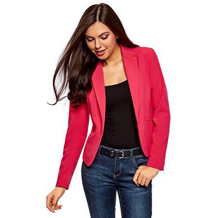 oodji Ultra Damen Taillierter Blazer Basic, Rosa, DE 38 EU 40 M