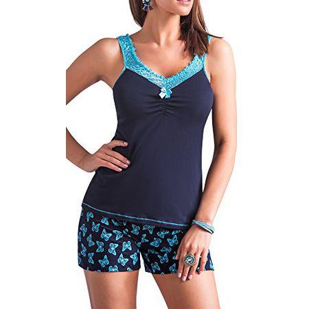 8c5ea708fd R-Dessous exclusives Damen Nachtwäsche Viskose Pyjama kurzer Schlafanzug Top  mit Shorts Shorty blau Groesse