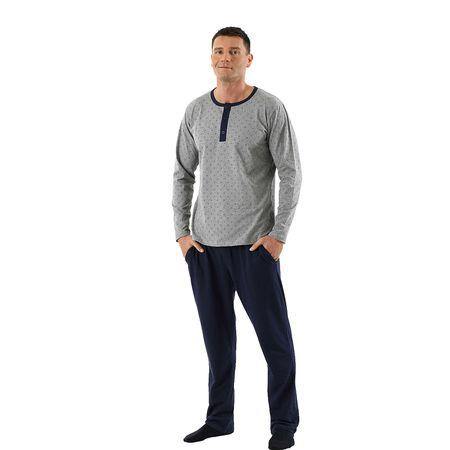 d033e91580069a ALBERT KREUZ Schlafanzug Langarm mit langer Hose Legerer Schnitt für ein  angenehmes Tragegefühl in samtweicher Stretch