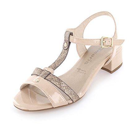 Tamaris Schuhe 1 1 28220 38 Bequeme Damen Sandalette, Sandalen, Sommerschuhe für Modebewusste Frau, Beige (ShellTaupe), EU 37