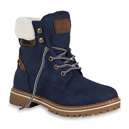 d09fb4493e8a98 Stiefelparadies Damen Stiefeletten Leicht Gefütterte Worker Boots Outdoor  Schuhe 149028 Dunkelblau Brooklyn 38 Flandell