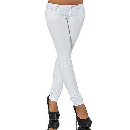 G701 Damen Jeans Look Hose Röhre Leggings Leggins Treggings Skinny Jeggings, Farben:Weiß;Größen:40 (L)
