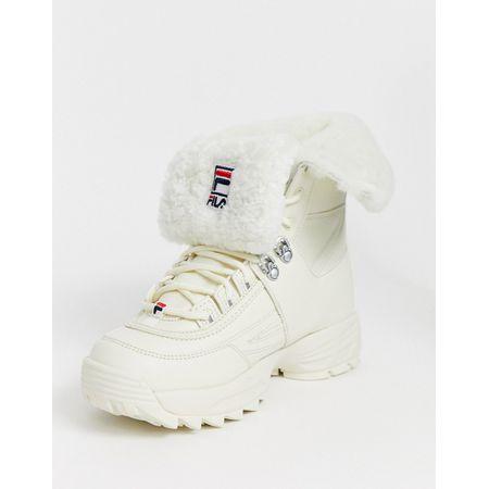 Fila – Disruptor – Weiße Stiefel mit Fellbesatz