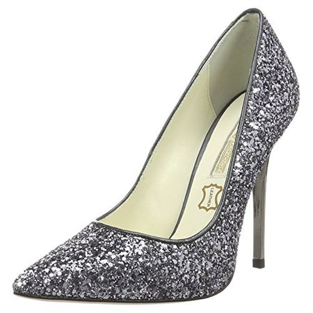 Buffalo London Damen 11335 269 L Glitter Pumps, Grau (Pewter 01), 38 EU