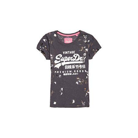 Superdry T-Shirt Damen SUPER 23 TROPICAL AOP TEE Ice Marl