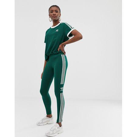 adidas Originals adicolor Grüne Leggings mit drei Streifen und Kleeblattt Grün