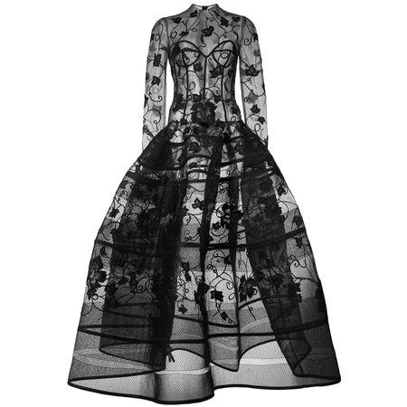 7a2dec1f17ffb7 Oscar de la Renta Abendkleid mit floraler Stickerei - Schwarz