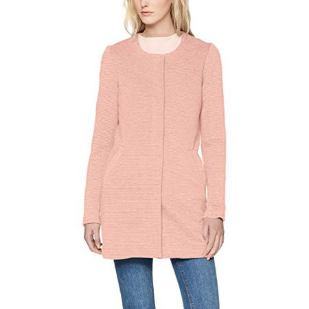 0ad546466c06 ONLY Damen Mantel Onlsidney Link Coat CC Otw, Rosa (Rose Dawn Detail Melange