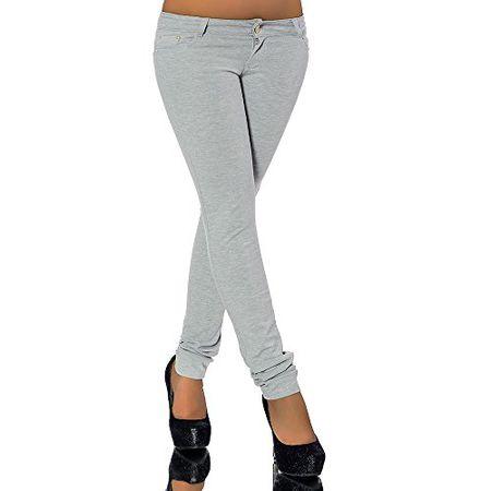 4b816791da G701 Damen Jeans Look Hose Röhre Leggings Leggins Treggings Skinny  Jeggings, Farben:Grau;