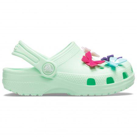 Crocs Kid's Classic Butterfly Charm Clog PS Sandalen Gr C10;C11;C12;C13;J1;J2 grün