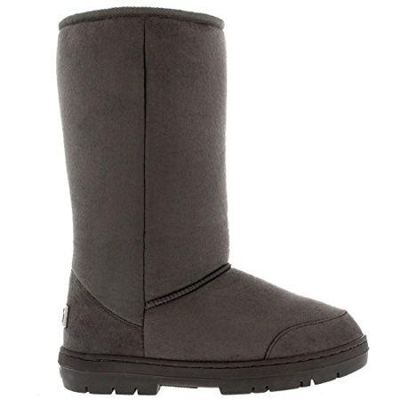 786bf1dda622 Damen Schuhe Classic Hoch Fell Schnee Regen Stiefel Winter Fur Boots - Gray  - 40 -