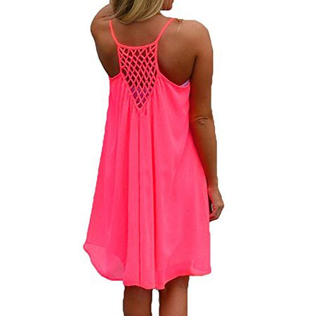 5fe45b3d9434 Juleya 9 Farben Damen Chiffon Strandkleid Solide Sommerkleid Frauen  Ärmellos Strand Kleid BOHO Halter Beiläufig Lose