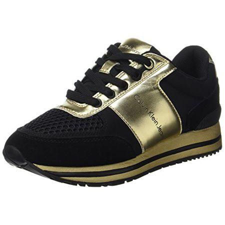 online retailer e4baa 20bc0 Calvin Klein Damen Tanya Suede/Nylon/Metal Smooth Sneaker, Mehrfarbig  (Black/Gold), 41 EU