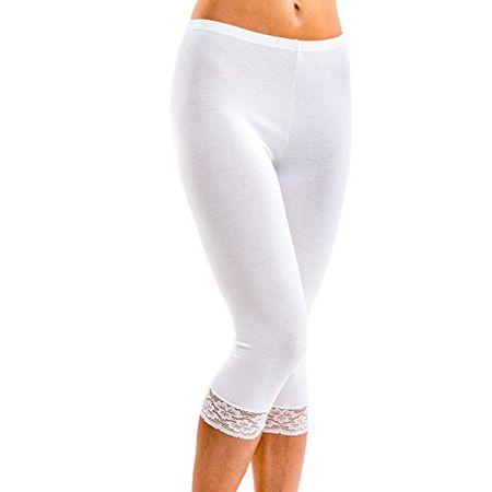 df4d372f98c8fb HERMKO 5722 Damen Capri-Leggings mit Spitze, Farbe:weiß, Größe:36/38 (S)