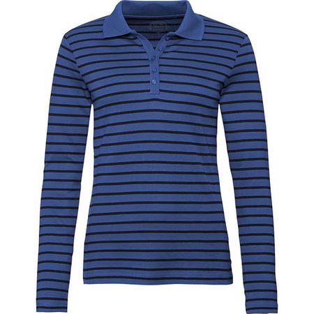 f5fd046936 Adagio Damen Streifen-Poloshirt, blau/schwarz, 40
