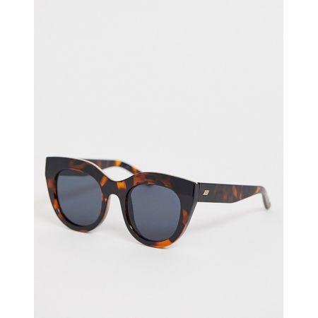 Le Specs Air Heart Runde Sonnenbrille in Schildpattoptik Braun