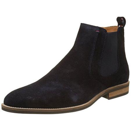 new products 2b24b 4c51e Tommy Hilfiger Herren Essential Suede Chelsea Boot, Blau (Midnight), 45 EU  (10.5 UK)