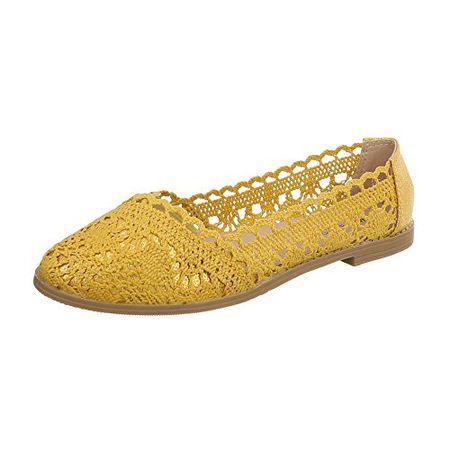 0129ebf83838 Ital-Design Klassische Ballerinas Damen-Schuhe Blockabsatz Luftig Leichte  Gelb, Gr 36,