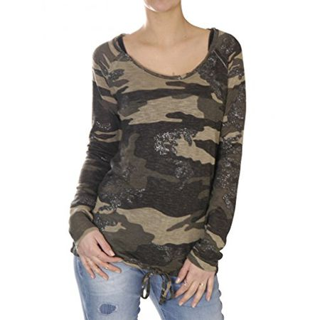 73b1f63922d0 ... Feinstrick Double Layer Look Bluse Business (XL, Black). Key Largo.  32,99 €. Key Largo Damen Shirt Oberteil Pullover Langarm EXPLORE camouflage  rundhals ...
