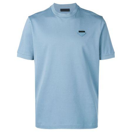 63adb3d06b0aa Prada T-Shirt mit Logo-Schild - Blau
