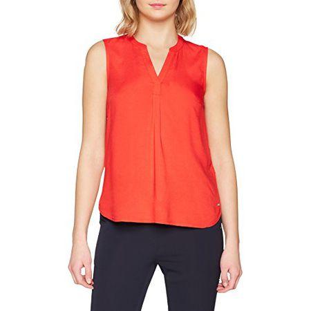 TOM TAILOR Denim Damen Bluse Sleeveless Open Neck Tunic, Rot (Strong Red  4479) 60939ec9b1