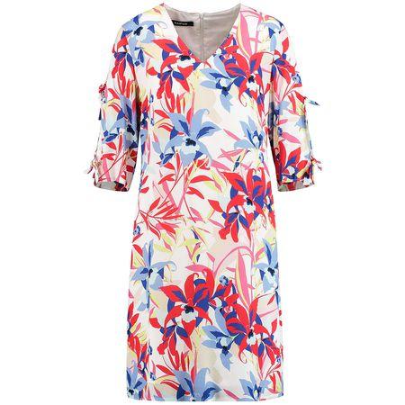 6ca0a96980c Taifun Kleid Langarm kurz Sommerkleid mit Blumen-Print weiß grau Damen