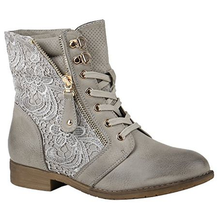872b5be6cc2275 Stiefelparadies Stylische Damen Stiefeletten Worker Boots Knöchelhohe  Stiefel Gesteppt Damen Leder-Optik Zipper Ketten Schuhe