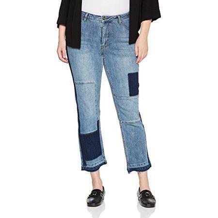 Ulla Popken Damen Slim Jeans Knöchellange Jeansröhre mit Patchoptik, Sammy,  Blau (Bleached 92 d079959b94