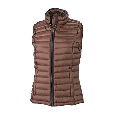 06496ff9d4794f James & Nicholson Damen Jacke Weste Ladies Quilted Vest rot (Coffee/Black)  Small