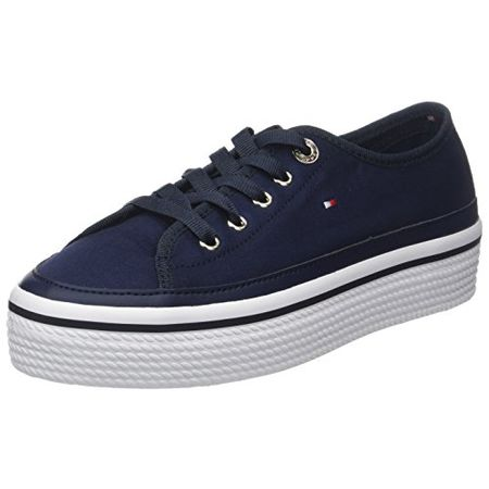 45b1c652071fcc Tommy Hilfiger Damen Corporate Flatform Sneaker, Blau (Tommy Navy 406), 42  EU