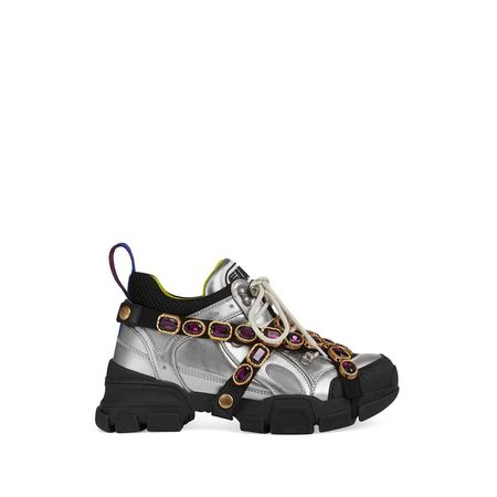 a2ba5a5a201 Gucci Flashtrek sneaker with removable crystals - Silber