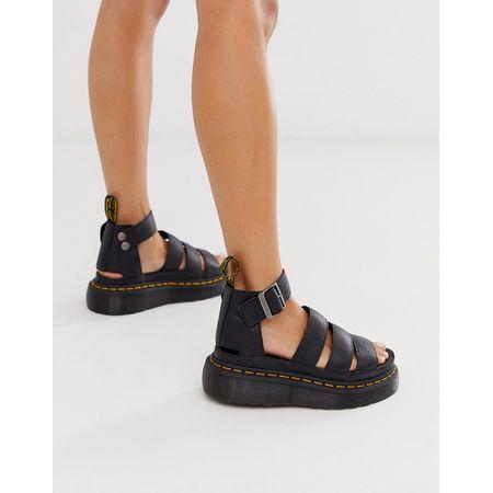 Dr Martens – Clarissa II Quad – Schwarze Sandalen mit dicker Sohle