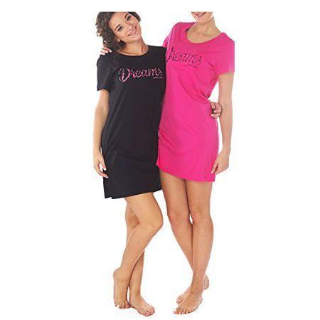 c8aaa3f46a6d54 Consult-Tex Damen Kurzarm Nachthemd Baumwolle 2 Stück Packung DW903 44/46