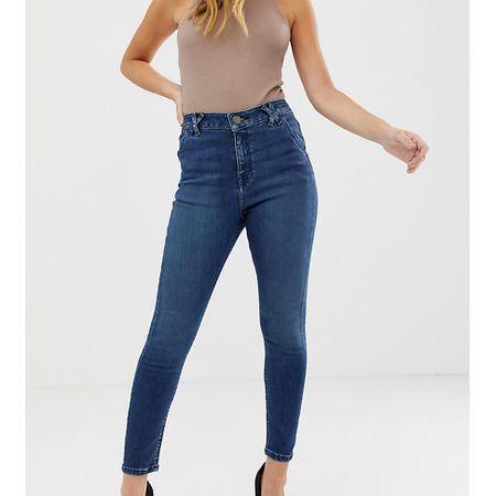 6f49b2d4f7e1 ASOS DESIGN Petite - Ridley - Enge Jeans mit hohem Bund und interessanten  Gürtelschlaufen in Blau gesprenkelt - Blau