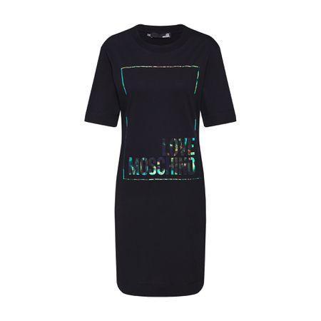 Love Moschino – Schwarzes T Shirt Kleid mit Stern Logo