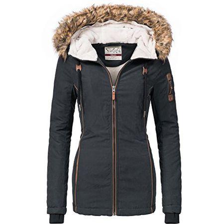 Urban Surface warme Damen Winter Jacke Teddyfell  Parka Winterjacke Bomberjacke