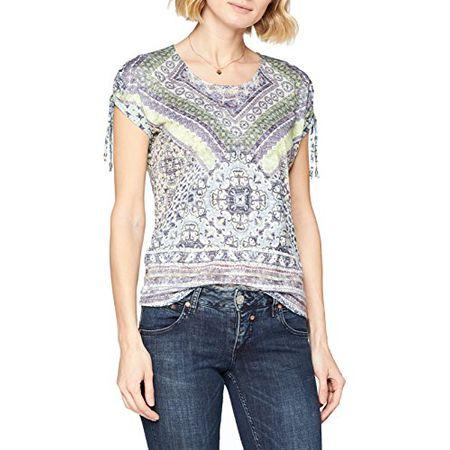 5c1ef03661f473 GERRY WEBER Damen Bluse T-Shirt 1/2 Arm, Mehrfarbig (Grün/