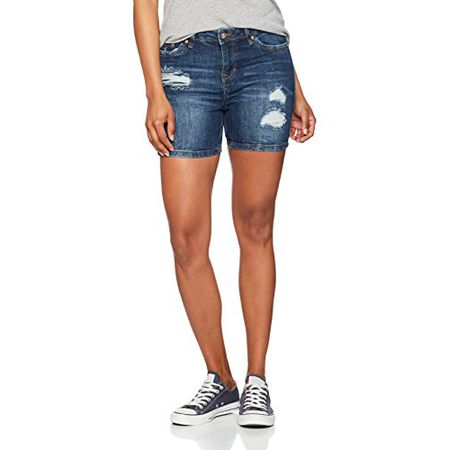 TOM TAILOR Denim Damen Cajsa Shorts Distressed Blue, Blau (Mid Stone Wash  Denim 1052 0a780be552