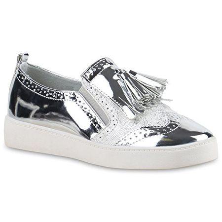 Damen Slipper Lack Plateau Loafers Metallic Loafer Flats Glitzer Slippers  Quasten Lochung Schuhe 136539 Silber Metallic a0810f5104