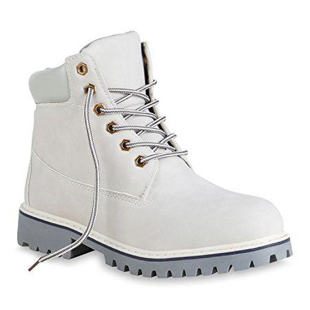 730985a2a6f02 Stiefelparadies Damen Stiefeletten Warm Gefütterte Worker Boots Outdoor  Schuhe 153622 Hellgrau Brooklyn 37 Flandell