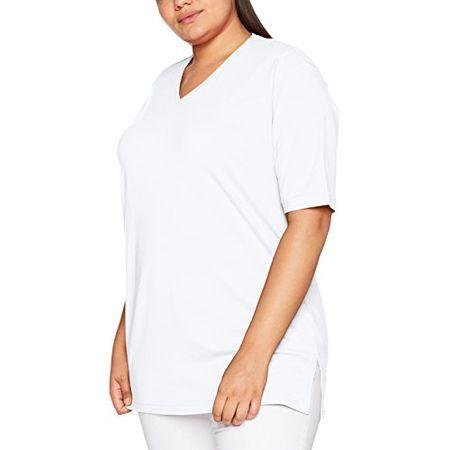 4f9821b349cd6e Ulla Popken Große Größen Damen T-Shirt, V-Ausschnitt, Weiß (Weiss