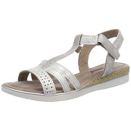 buy online e70e3 f8721 Jana Damen 28214 T-Spangen Sandalen, Silber (Silver), 38 EU