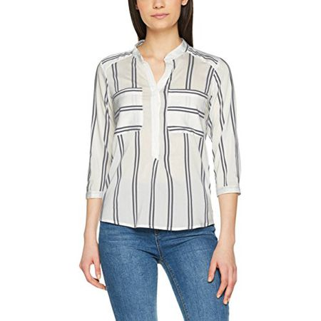 VERO MODA Damen Bluse Vmerika Double Stripe 3 4 Shirt, Mehrfarbig (Snow  White 08d161908f