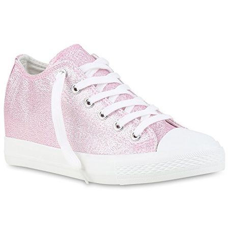 8c35fb951f9b Damen Sneaker Wedges Keilabsatz Sneakers Glitzer Zipper Wedge Turn Metallic  Schuhe 123494 Rosa Glanz 41 Flandell
