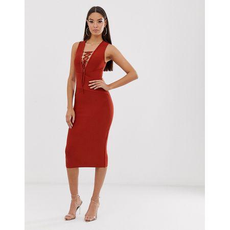 c1ce0607127d5 The Girlcode - Bandagen-Kleid in Rostbraun mit Schnürung - Braun
