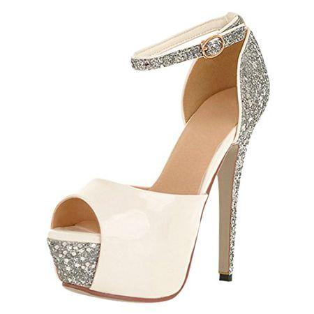 YE Damen Peep Toe 13cm Heels High Heel Plateau Stiletto Knoechelriemchen  Pumps Schuhe Sommer Pailletten Braut 97759c7d56