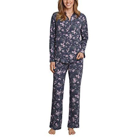 7ced5129df Schiesser Damen Zweiteiliger Schlafanzug Pyjama Lang, Blau (Blaugrau 808),  40 (Herstellergröße
