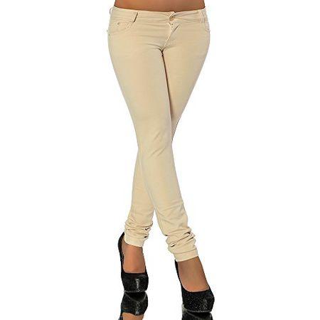 G701 Damen Jeans Look Hose Röhre Leggings Leggins Treggings Skinny Jeggings, Farben:Beige;Größen:36 (S)
